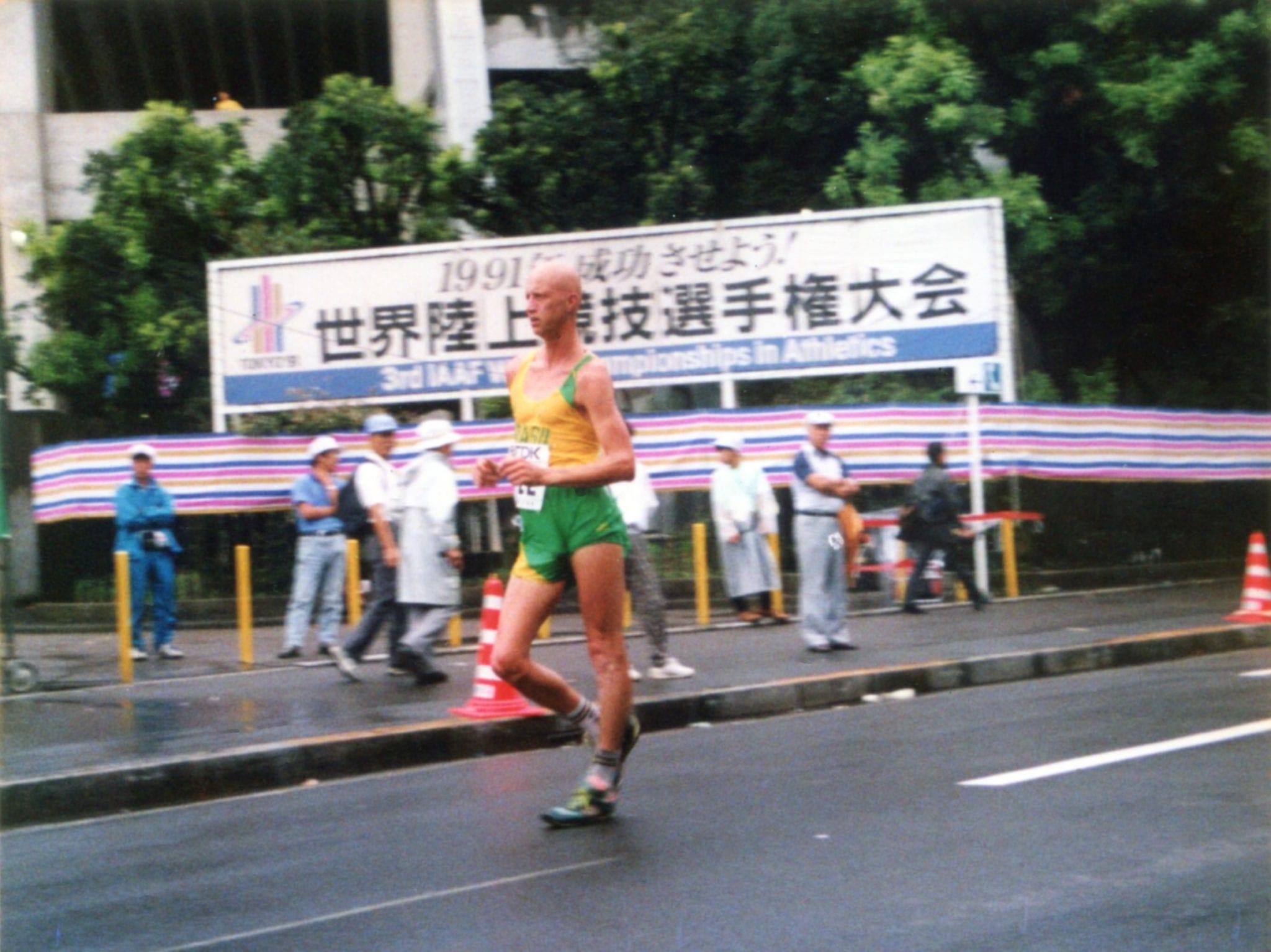 Psicólogo Esportivo Marcelo Prahas competindo no campeonato mundial de atletismo em 1991. Na época, ele Marcelo Moreira Palma, recordista sul-americano da prova de 20 km marcha.